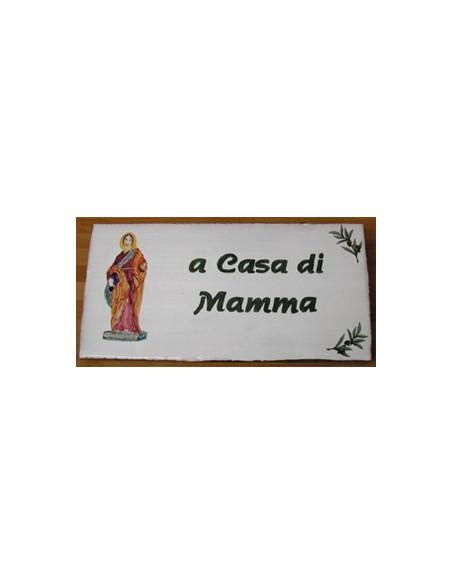 Plaque de Maison en céramique émaillée décor artisanal sainte restitude + inscription personnalisée
