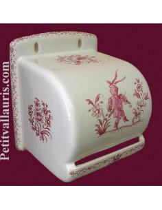 Dérouleur de papier toilette décor Tradition Vieux Moustiers rose