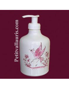 Distributeur de savon liquide décor Tradition Vieux Moustiers rose