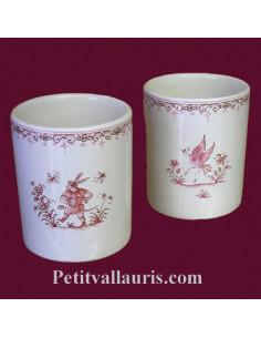 Porte crayon et maquillage décor Tradition Vieux Moustiers rose