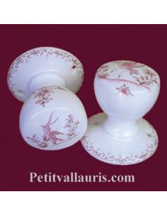 Patère / Porte manteau décor Tradition Vieux moustiers rose (l'unité)