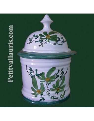 Pot de salle de bain taille 2 d cor fleuri vert le petit - Pot a coton salle de bain ...