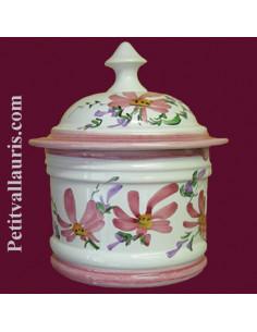 Pot de Salle de bain Taille 3 décor Fleuri rose