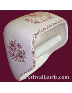 Dérouleur de papier toilette décor Tradition Vieux Moustiers rose NM
