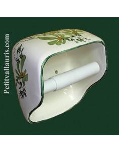 Dérouleur de papier toilette décor fleuri vert NM