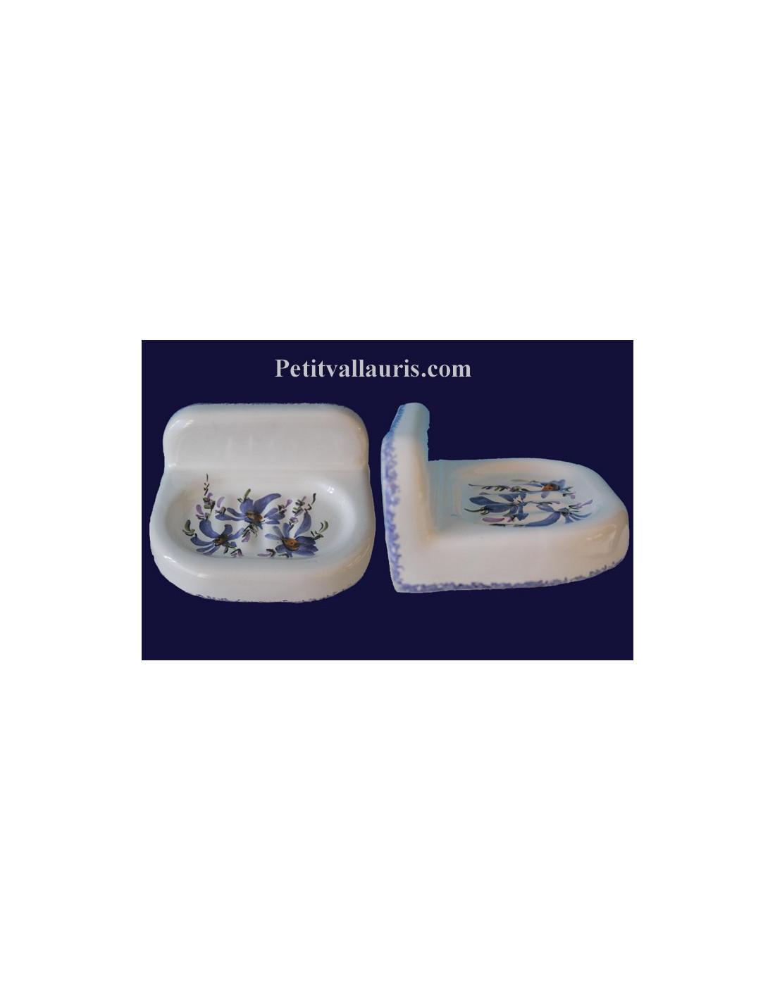 Porte savon fixer au mur en c ramique blanche au d cor fleurs bleues fabriqu dans le var - Porte savon mural ceramique ...