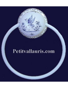 Porte serviette mural décor Tradition Vieux Moustiers bleu (anneau métal)