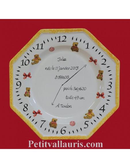 Assiette souvenir de naissance modèle octogonale décor oursons