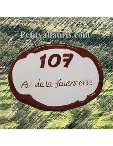 plaque ovale de porte en faience blanche avec incription personnalis e et bordure rouge pourpre. Black Bedroom Furniture Sets. Home Design Ideas