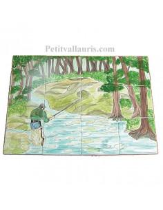 Fresque en faïence sur carreau décor pêche à la mouche