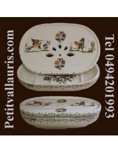 Porte savon à poser avec récupérateur décor Tradition Vieux Moustiers polychrome