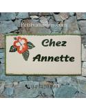 Plaque de Maison rectangle décor personnalisé les hibiscus inscription verte