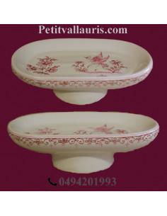 Porte savon modèle Anneau décor Tradition Vieux Moustiers rose