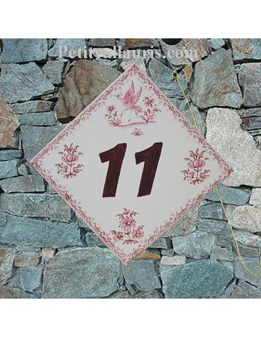 Numéro de Maison pose losange chiffre prune décor fleurs tradition vieux moustiers rose