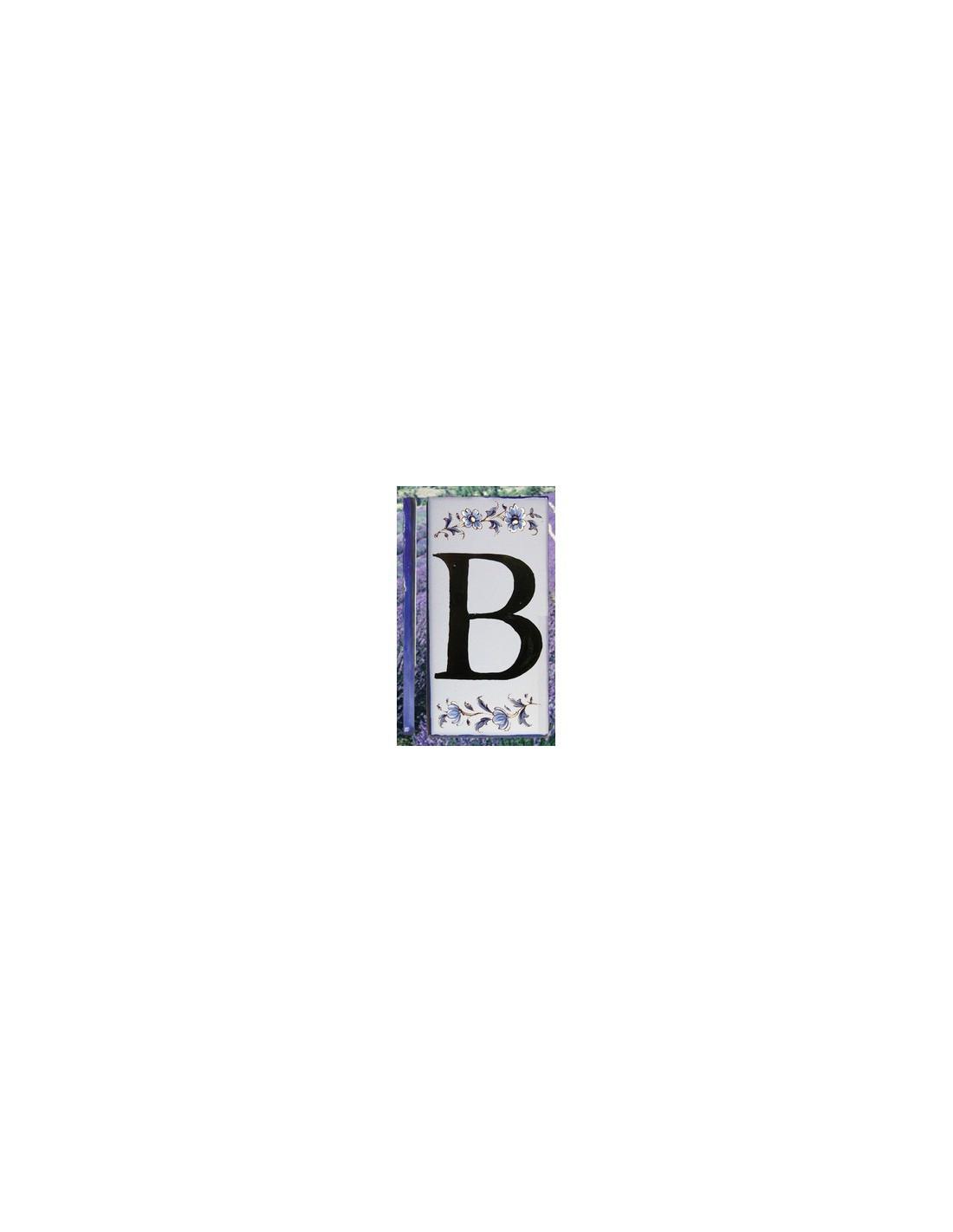 Numero de rue coller en faience lettre b motif fleurs for Numero de porte en faience