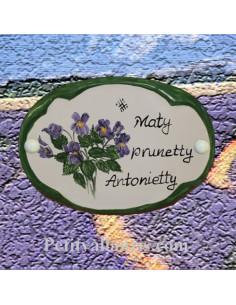 Plaque de porte décor violettes personnalisé