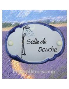 Plaque de porte décor douche bord bleu