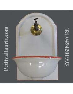 Fontaine murale décor unie blanche bord rouge taille 1