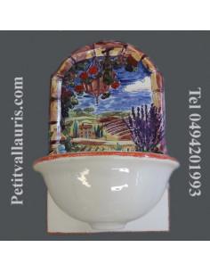 Fontaine murale décor paysage trompe l'oeil bord rouge taille 1