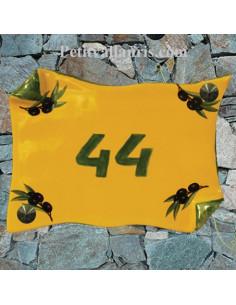 Plaque de Maison parchemin decor olives noires couleur provençale modèle expo