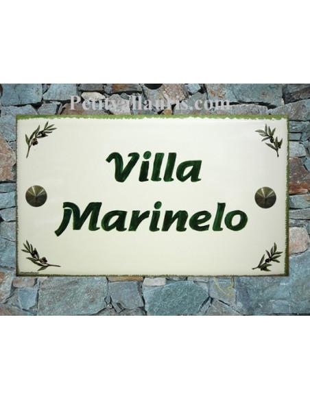 Plaque de Villa en céramique modèle rectangle décor brins d'olives + inscription personnalisée