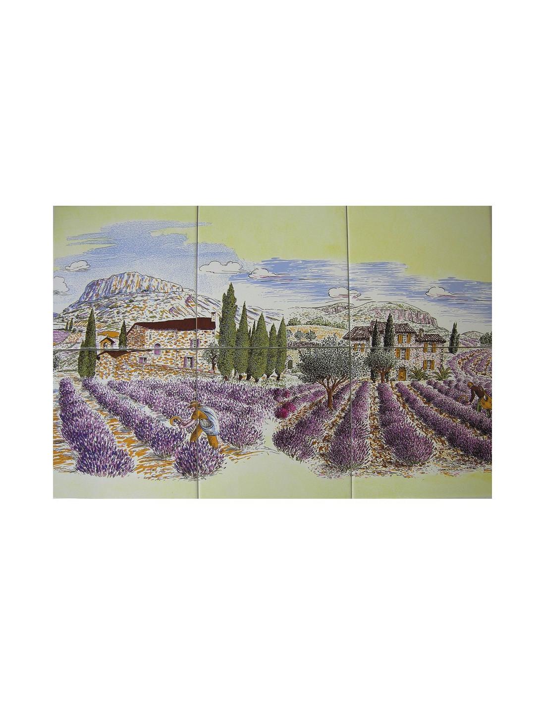 fresque c ramique d cor r colte champs de lavande sur fond jaune le petit vallauris. Black Bedroom Furniture Sets. Home Design Ideas