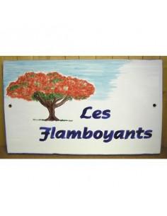 Plaque pour maison en céramique émaillée décor l'arbre Flamboyant