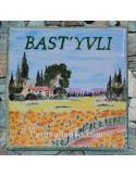 Plaque texte et décor personnalisé pour votre maison décor champs de tournesols et bastide texte vert