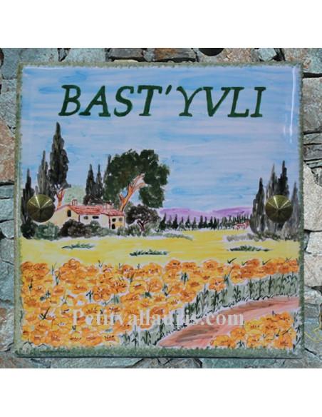 Grande plaque de maison en céramique modèle carrée motif artisanal champs de tournesols et bastide texte personnalisée