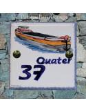 Numéro de Maison pose horizontale décor personnalisé péniche chiffre bleu