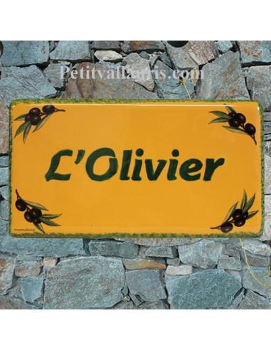 Plaque de Maison rectangle décor brins d'olivier aux angles couleur fond jaune provençal inscription personnalisée verte