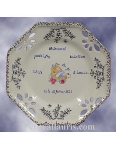 Assiette souvenir de naissance octogonale décor bleu