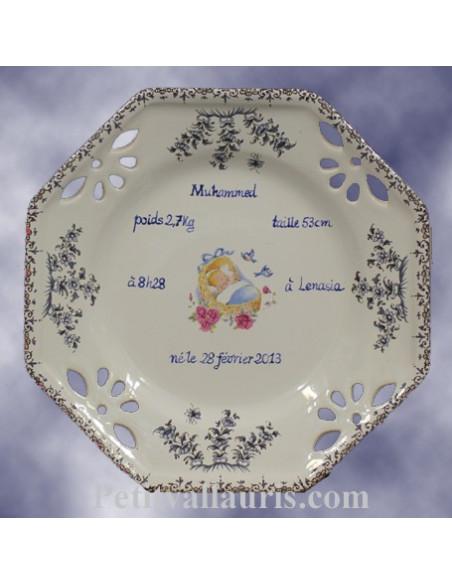 Assiette souvenir de naissance avec gravure personnalisée modèle octogonale motifs bleu