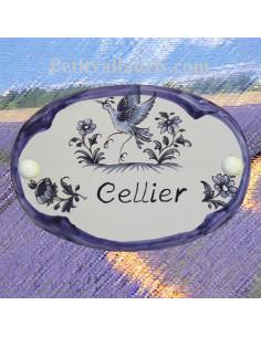 Plaque ovale Cellier décor tradition vieux moustiers bleu