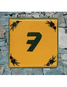 Numéro de Maison pose horizontale décor olives noires fond jaune provençal chiffre vert