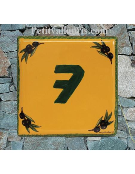 Plaque numéro de maison en faience motifs olives noires fond jaune provençal + chiffre personnalisé vert