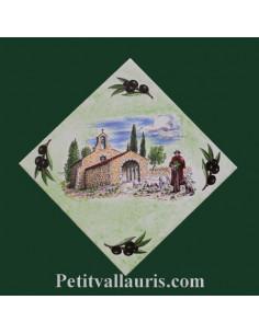 Décor sur carreau 15 x 15 motif Berger fond vert clair pose diagonale
