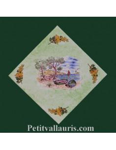 Décor sur carreau 15 x 15 motif Crique fond vert fond vert clair pose diagonale