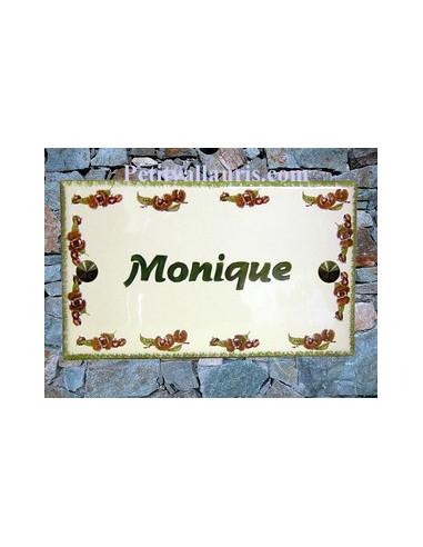 Plaque de Villa rectangle décor frise chataignes bord et inscription personnalisée verts