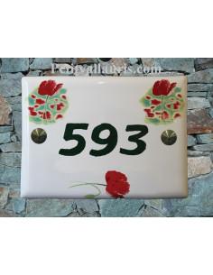 plaque de maison céramique motif coquelicots gravure personnalisée verte