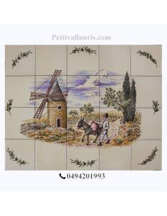 Fresque faïence décor Moulin et meunier 50x40 sur carreaux de 10