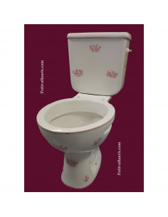 Toilettes-WC décor fleurs Tradition Vieux Moustiers rose