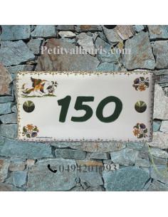 Plaque de maison faience émaillée décor oiseau tradition + inscription personnalisée verte