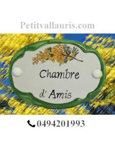 Plaque de porte ovale inscription chambre brin de mimosas bord vert