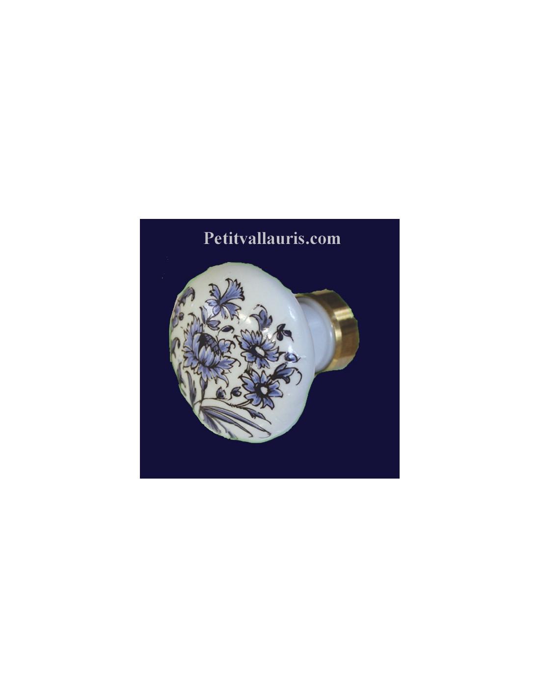 bouton d coratif en porcelaine blanche de tiroir ou de placard au motif fleurs bleues de tradition. Black Bedroom Furniture Sets. Home Design Ideas