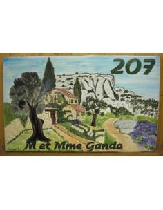 Plaque de Villa rectangle décor personnalisé bastide en pierre et colline inscription personnalisés verte