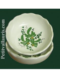 Coupelle dentellée décor Fleuri vert
