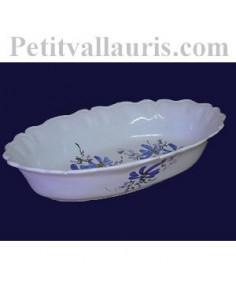 Corbeille à fruit ou à pain ovale décor fleur bleue