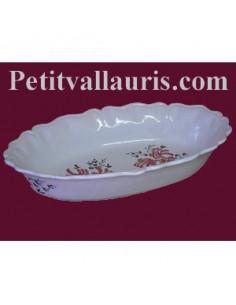 Corbeille à fruit ou à pain ovale décor fleur rose