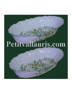 Corbeille à fruit ou à pain ovale décor fleur verte